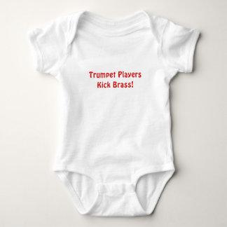 Body Para Bebê Bronze do pontapé dos jogadores de trombeta