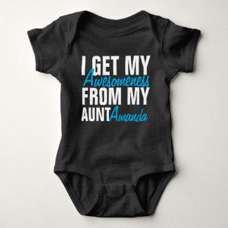 Body Para Bebê Eu obtenho meu Awesomeness de minha tia (tia Nome)