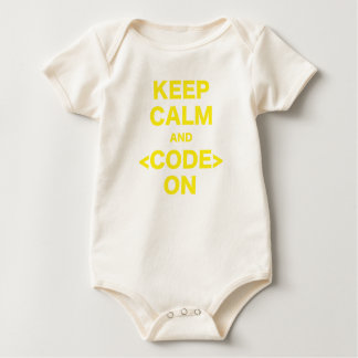 Body Para Bebê Mantenha a calma e o código sobre