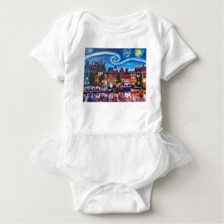 Body Para Bebê Noite estrelado sobre o canal de Amsterdão