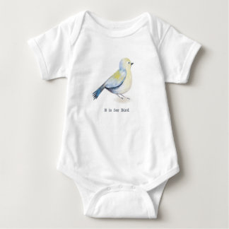 Body Para Bebê O alfabeto B é para o pássaro - pássaro azul da
