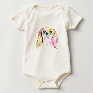 Body Para Bebê Pintura descuidado da arte do cão do Spaniel de