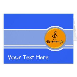 Bodybuilding; azul & laranja cartão comemorativo
