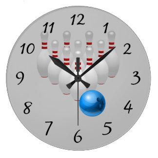 Bola de boliche animado e pinos relógio de parede