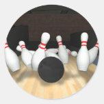 Bola de boliche & pinos: modelo 3D: Adesivo Em Formato Redondo