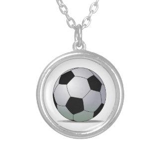 Bola de futebol americana do futebol de associação colar com pendente redondo