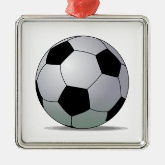 Bola de futebol americana do futebol de associação ornamento quadrado cor prata