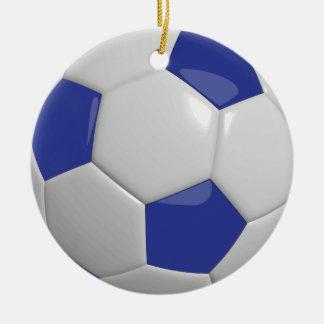Bola de futebol | azul escuro ornamento de cerâmica