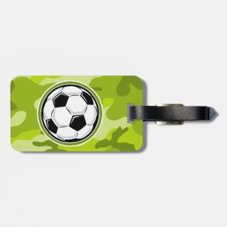 Bola de futebol camo verde-claro camuflagem tags de bagagens