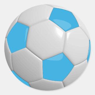 Bola de futebol dos azuis bebés e do branco adesivo