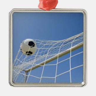 Bola de futebol e objetivo 3 ornamento quadrado cor prata