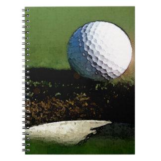 Bola de golfe & o furo caderno