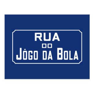 Bola de Rua Jogo a Dinamarca, sinal de rua, Rio de Cartão Postal