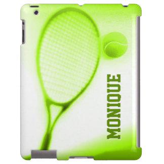 Bola de tênis e ipadcase verde dos esportes da capa para iPad