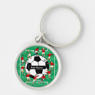 Bola e jogadores personalizados de futebol chaveiro redondo na cor prata