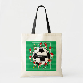 Bola e jogadores personalizados de futebol sacola tote budget