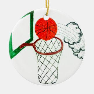 Bola Sketch2 do basquetebol Ornamento De Cerâmica Redondo