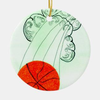 Bola Sketch4 do basquetebol Ornamento De Cerâmica Redondo
