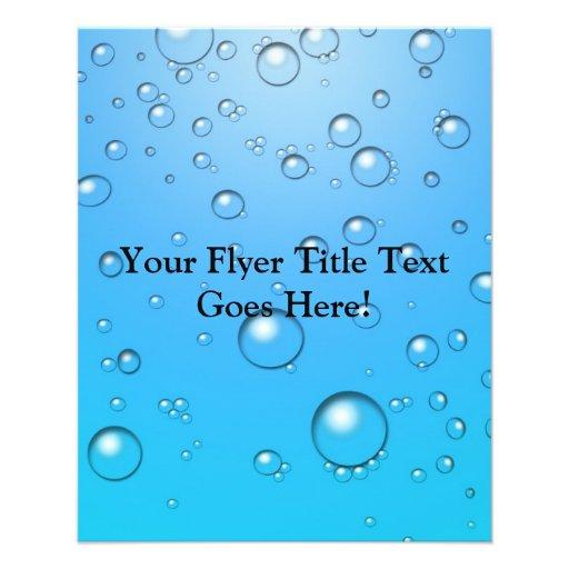 Bolhas claras, água azul panfletos