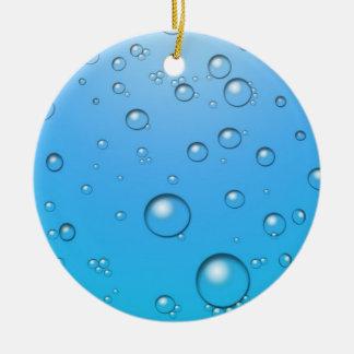 Bolhas claras, água azul ornamento de cerâmica redondo