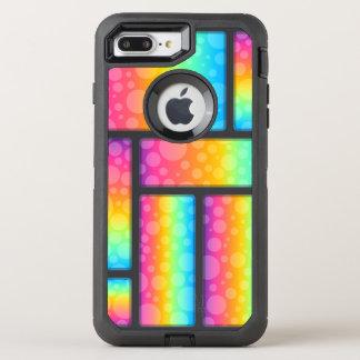 Bolhas & teste padrão coloridos de Retrangle Capa Para iPhone 8 Plus/7 Plus OtterBox Defender