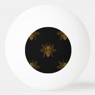 Bolinha De Ping Pong Abelhas metálicas da folha do ouro no preto