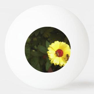 Bolinha De Ping Pong Flor amarela bonita com abelha pequena