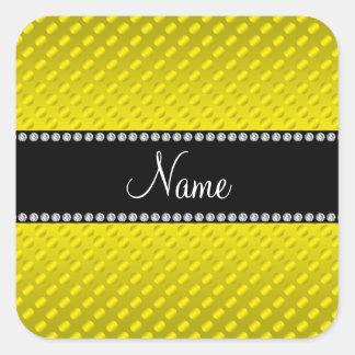 Bolinhas amarelas conhecidas personalizadas adesivos quadrados