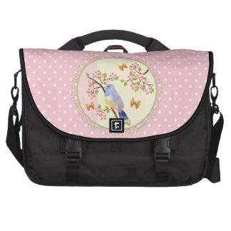 Bolinhas azuis do rosa do pássaro maletas para notebooks