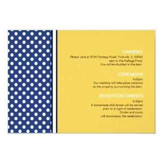 Bolinhas azuis e cartão amarelo do cerco do convite 8.89 x 12.7cm
