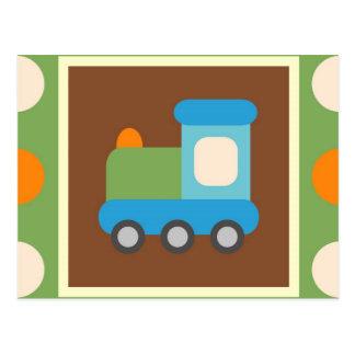 Bolinhas bonitos da laranja do verde do transporte cartão postal