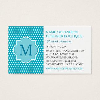 Bolinhas bonitos de turquesa com monograma cartão de visitas