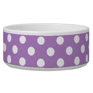 Bolinhas brancas em bolinhas de PurpleWhite do Tijela Para Comida De Cachorros