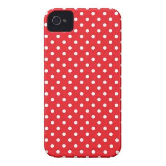 Bolinhas brancas no fundo vermelho capas de iPhone 4 Case-Mate