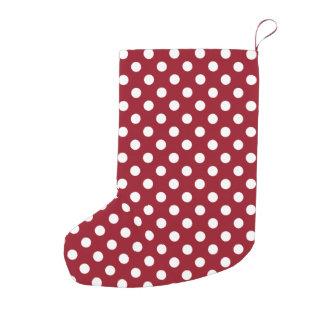 Bolinhas brancas no vermelho carmesim bota de natal pequena