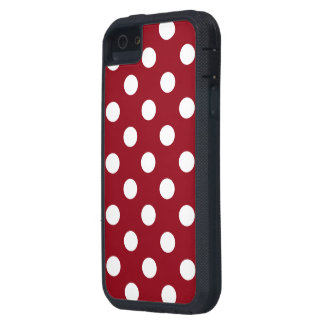 Bolinhas brancas no vermelho carmesim capa para iPhone 5