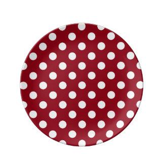 Bolinhas brancas no vermelho carmesim prato de porcelana