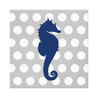 Bolinhas cinzentas e brancas do cavalo marinho dos impressão em canvas