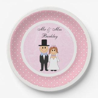 Bolinhas cor-de-rosa & brancas personalizadas que