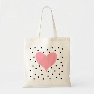 Bolinhas cor-de-rosa do coração bolsa para compras