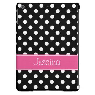 Bolinhas cor-de-rosa e pretas formais personalizad capa para iPad air