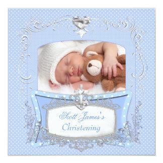 Bolinhas do azul do baptismo do batismo do bebé convite quadrado 13.35 x 13.35cm