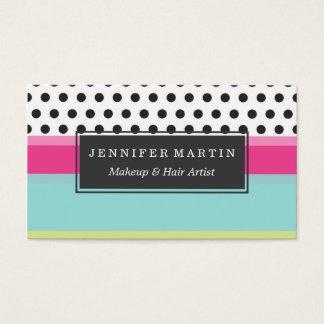 Bolinhas do hipster e blocos da cor cartão de visita