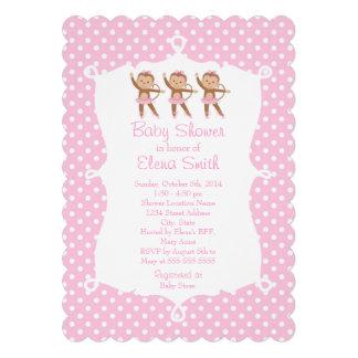 Bolinhas do rosa da bailarina do safari convite personalizados