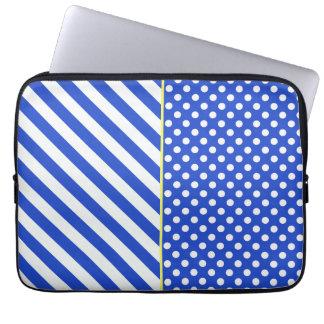 Bolinhas e listras dos azuis marinhos por bolsa e capa para computadore