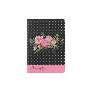 Bolinhas e suporte cor-de-rosa do passaporte das capa para passaporte