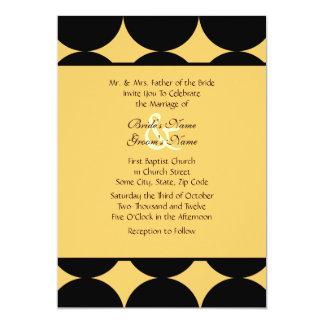 Bolinhas modernas pretas e amarelas que Wedding Convite 12.7 X 17.78cm