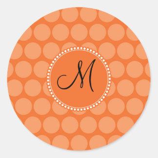 Bolinhas personalizadas da laranja da inicial do adesivo