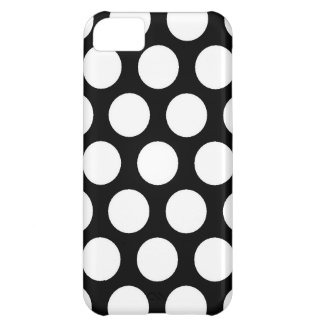 Bolinhas pretas brancas retros - caso do iPhone 5 Capa Para iPhone 5C