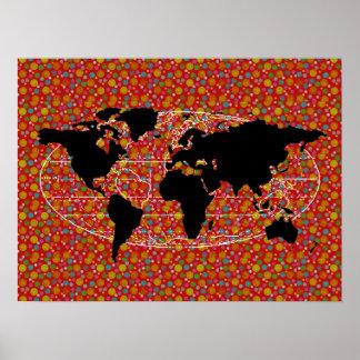 bolinhas pretas do mapa do mundo pôster